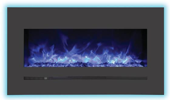 Sierra Flame Wall Mount Flush 34 inch Electric Fireplace Backlighting