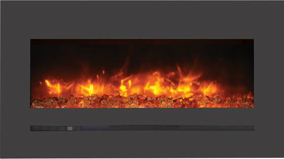 Sierra Flame Wall Mount Flush 34 inch Electric Fireplace in Black Steel