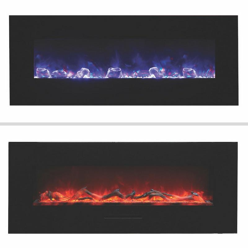 Amantii 48 inch Wall Mount Electric Fireplace in Black Glass