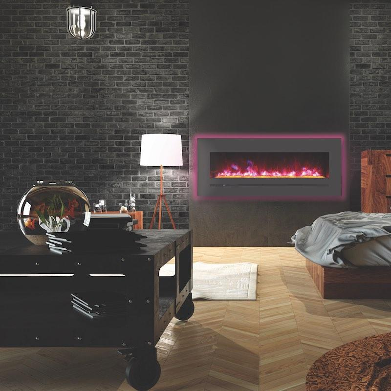 Sierra Flame Wall Mount Flush 48 inch Electric Fireplace in Black Steel