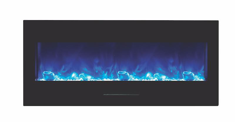 Amantii 50 inch Wall Mount Electric Fireplace in Black Glass