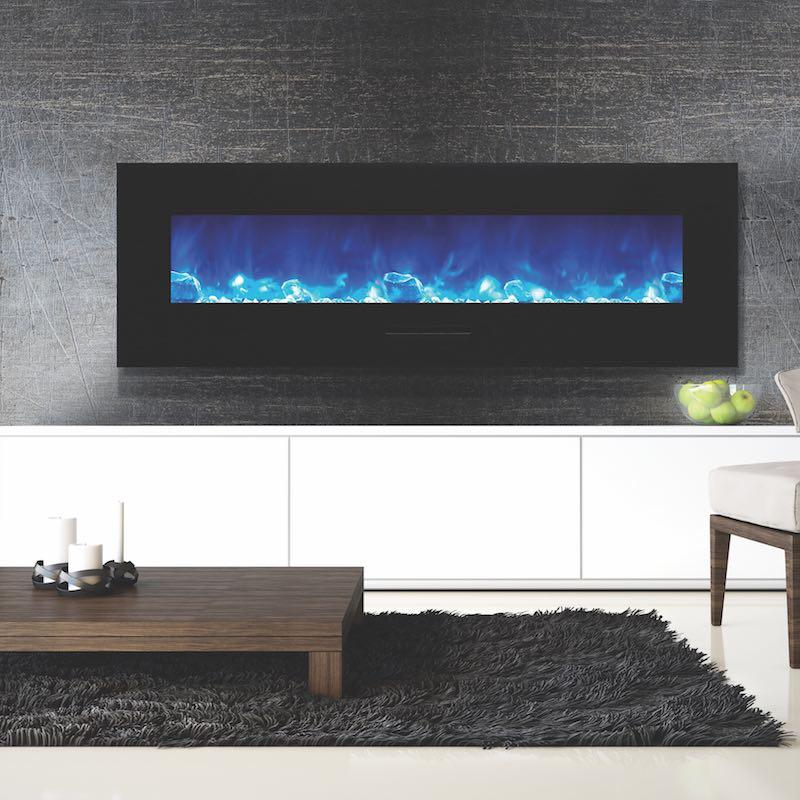 Amantii 60 inch Wall Mount Electric Fireplace in Black or White Glass