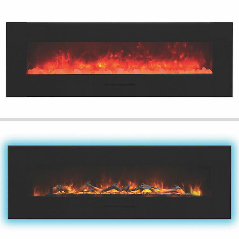 Amantii 60 inch Wall Mount Electric Fireplace in Black Glass