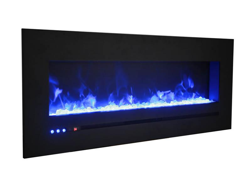 Sierra Flame Wall Mount Flush 72 inch Linear Electric Fireplace in Black Steel Angle
