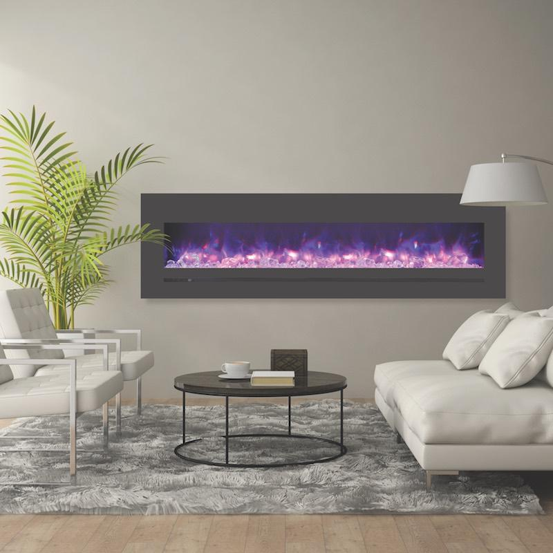 Sierra Flame Wall Mount Flush 72 inch Electric Fireplace in Black Steel