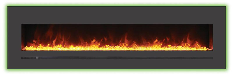 Sierra Flame Wall Mount Flush 72 inch Linear Electric Fireplace in Black Steel