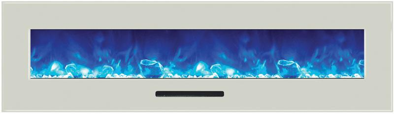 Amantii 72 inch Wall Mount Electric Fireplace in White Glass