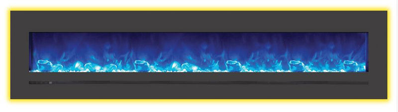 Sierra Flame Wall Mount 88 inch Linear Electric Fireplace Backlighting