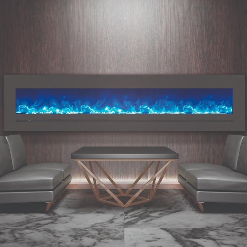 Sierra Flame Wall Mount 88 inch Linear Electric Fireplace Modern Living Room