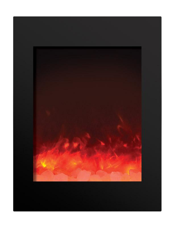 Amantii Zero Clearance Vertical 39 inch Electric Fireplace in Black Glass