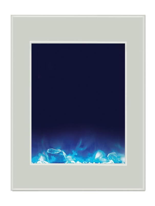 Amantii Zero Clearance Vertical 39 inch Electric Fireplace in White Glass
