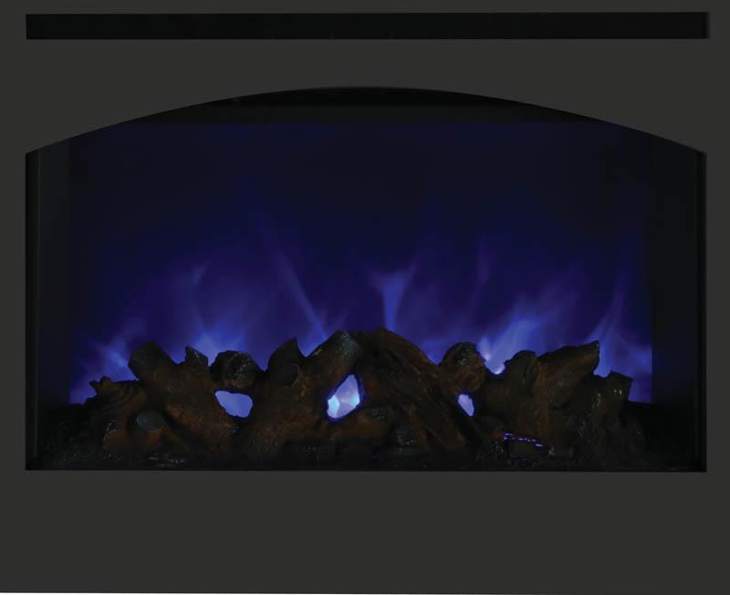 "Amantii 31"" Zero Clearance Arched Electric Fireplace Blue Flame"