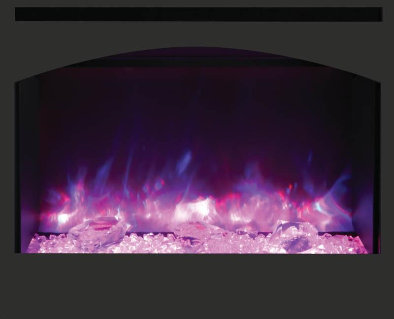 "Amantii 31"" Zero Clearance Arched Electric Fireplace Pink Flame"