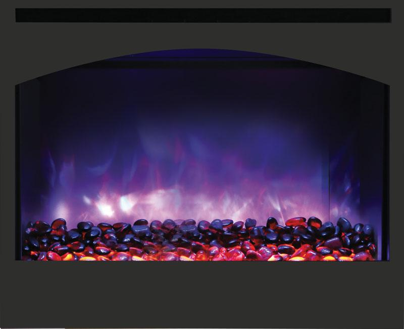 "Amantii 31"" Zero Clearance Arched Electric Fireplace Purple Flame"