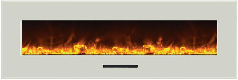Amantii 60 inch Wall Mount Electric Fireplace in White Glass