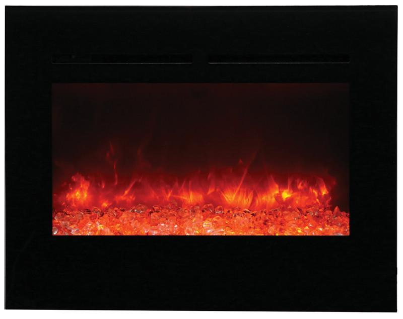 Amantii Zero Clearance Flush Mount 30 inch Electric Fireplace Orange Flame