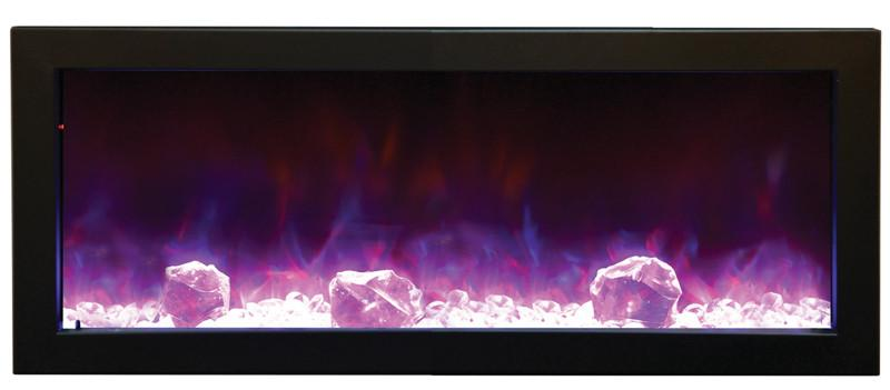 "Amantii 72"" Slim Indoor or Outdoor Electric Fireplace Built Purple Flame"