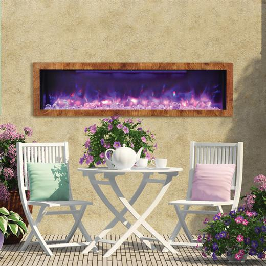 "Amantii 60"" Electric Fireplace Indoor or Outdoor Built-in Black"