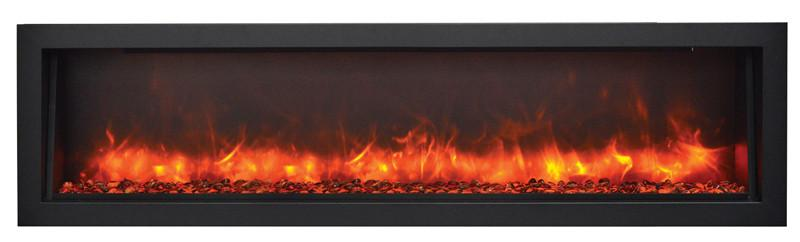 "Amantii 72"" Slim Indoor or Outdoor Electric Fireplace Built Orange Flame"