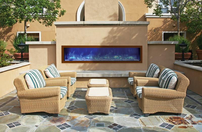 "Amantii 72"" Slim Indoor or Outdoor Electric Fireplace Built In Black"
