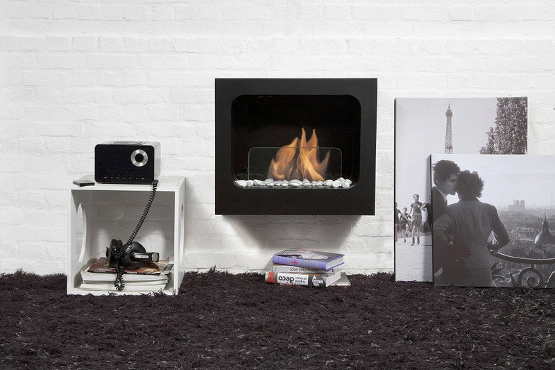 "Bio-Blaze 23"" Wall Mounted Bio-Ethanol Fireplace Colombus Black"