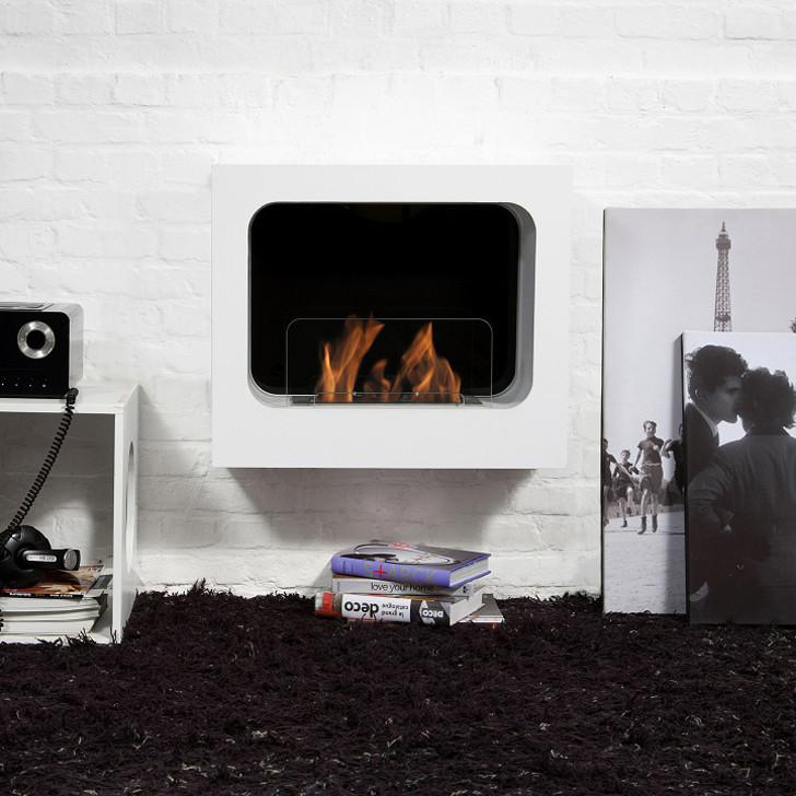 "Bio-Blaze 23"" Wall Mounted Bio-Ethanol Fireplace Colombus White"