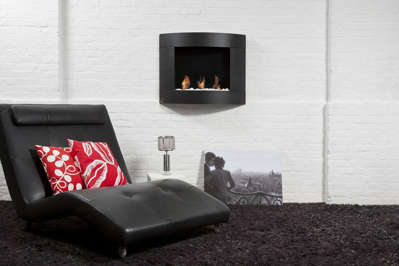 "Bio-Blaze 31"" Bio-Ethanol Wall Mounted Fireplace Diamond II Black"