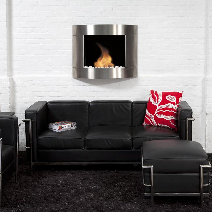 "Bio-Blaze 31"" Bio-Ethanol Wall Mounted Fireplace Diamond II Stainless Steel"