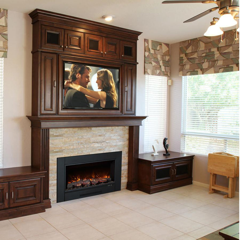 Modern flames indoor zero clearance electric fireplace for Modern wood burning fireplace insert