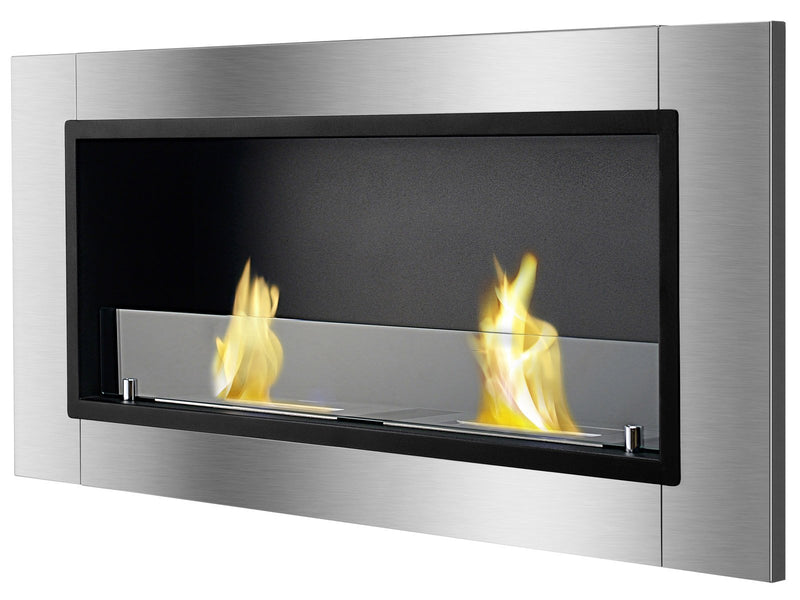 Ignis Lata Recessed Ethanol Fireplace with glass