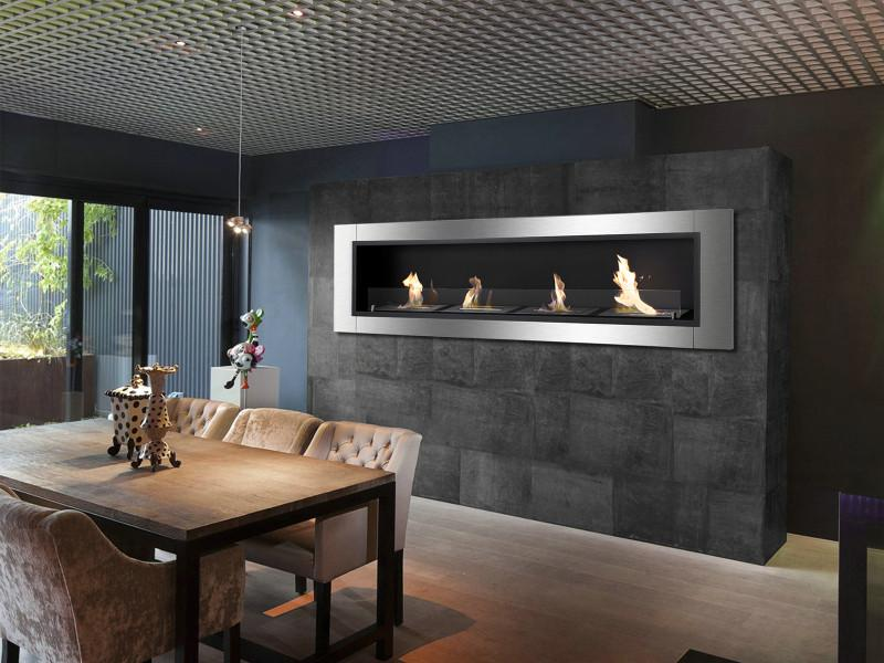 Ignis Accalia Wall Mounted 60 in Recessed Ventless Ethanol Fireplace