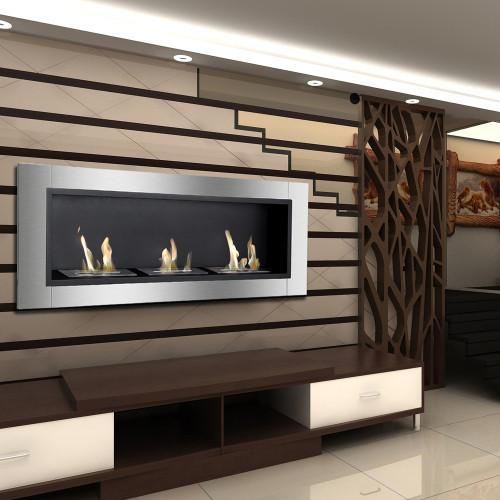 "Ignis Ardella 50"" Wall Mounted Recessed Ventless Ethanol Fireplace"