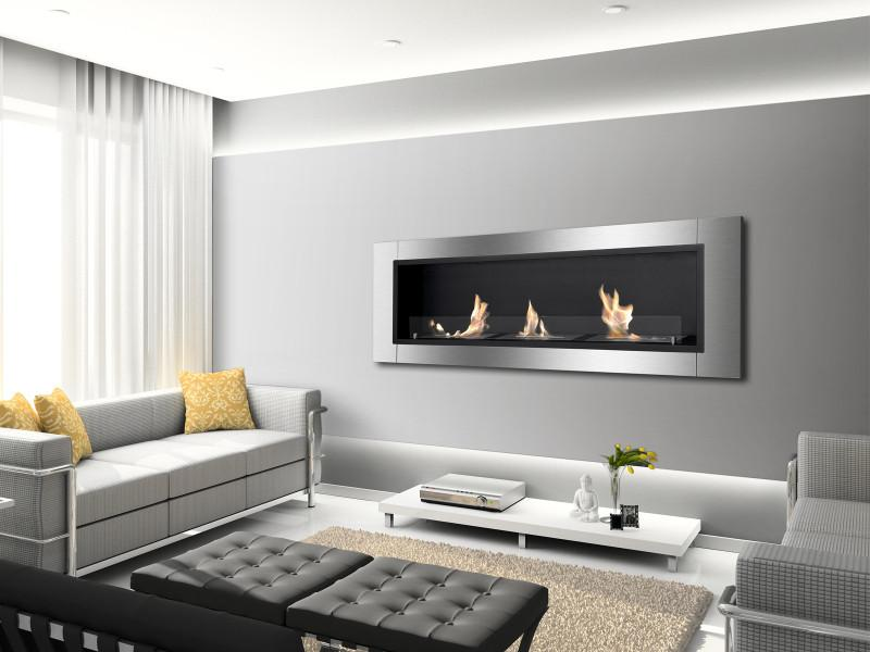 Ignis Ardella Wall Mounted Recessed 50 in Ventless Ethanol Fireplace