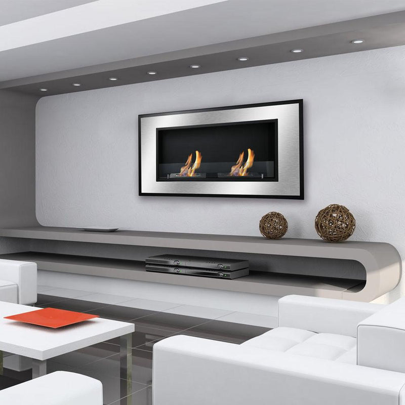 Ignis Bellezza 40 in Wall Mounted Recessed Ventless Ethanol Fireplace