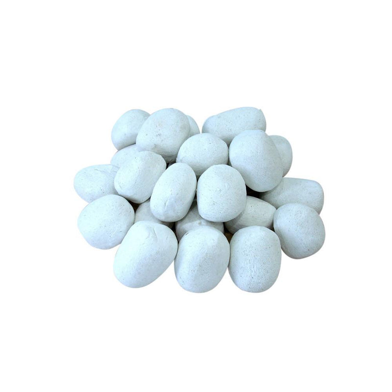 Ignis Decorative White Ceramic Pebble Set of 24 - The Noble Flame