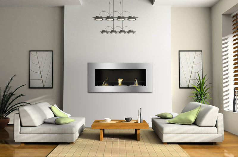 Ignis Optimum Wall Mounted Recessed Ventless 60 in Ethanol Fireplace