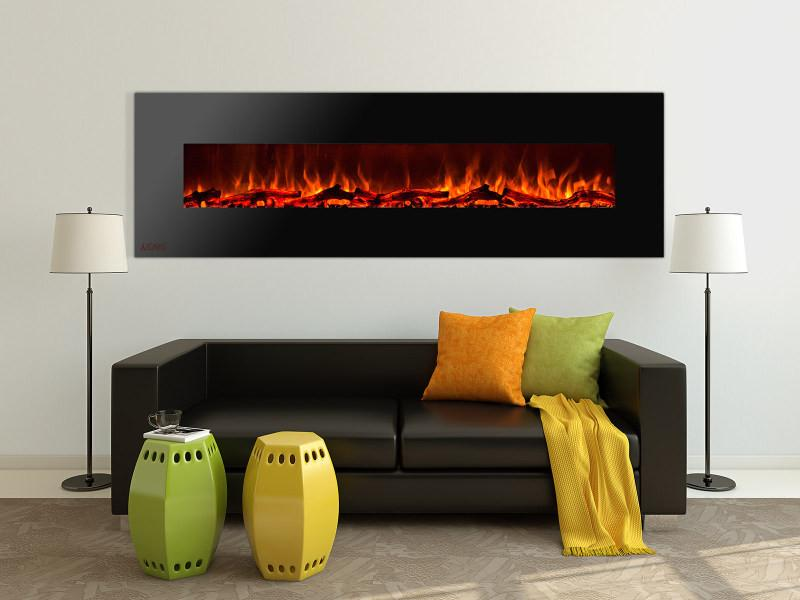 Ignis Royal Wall Mount 95 in Electric Fireplace with Logs