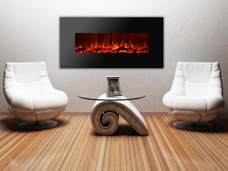 Ignis Royal Wall Mount 60 in Electric Fireplace with Logs