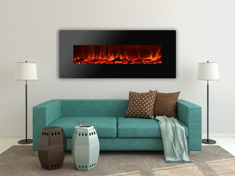 ignis royal wall mount 60 in electric fireplace with logs - Electric Fireplace Logs