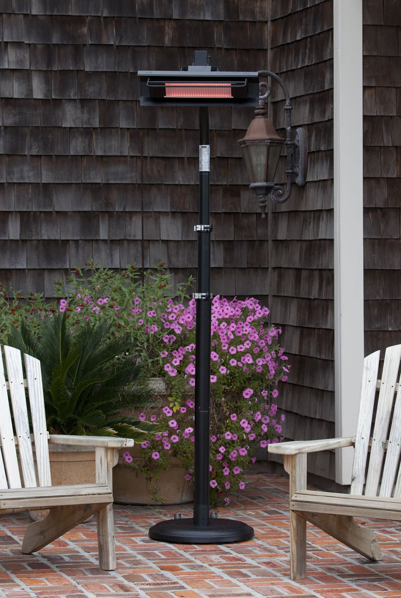 Infrared Telescoping Black Steel Pole-Mounted Patio Heater