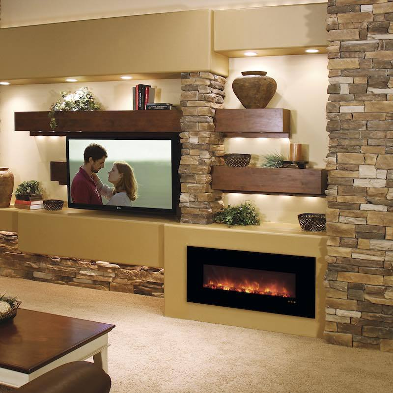 Modern Flames Fantastic Flame 43 inch Built-in or Wall-Mount No Heat Electric Fireplace Living Room