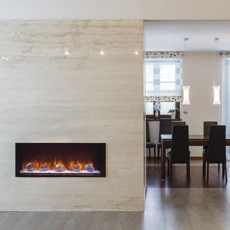 Modern Flames Landscape FullView 40 inch Built In Recessed Flush Mount Electric Fireplace Dining