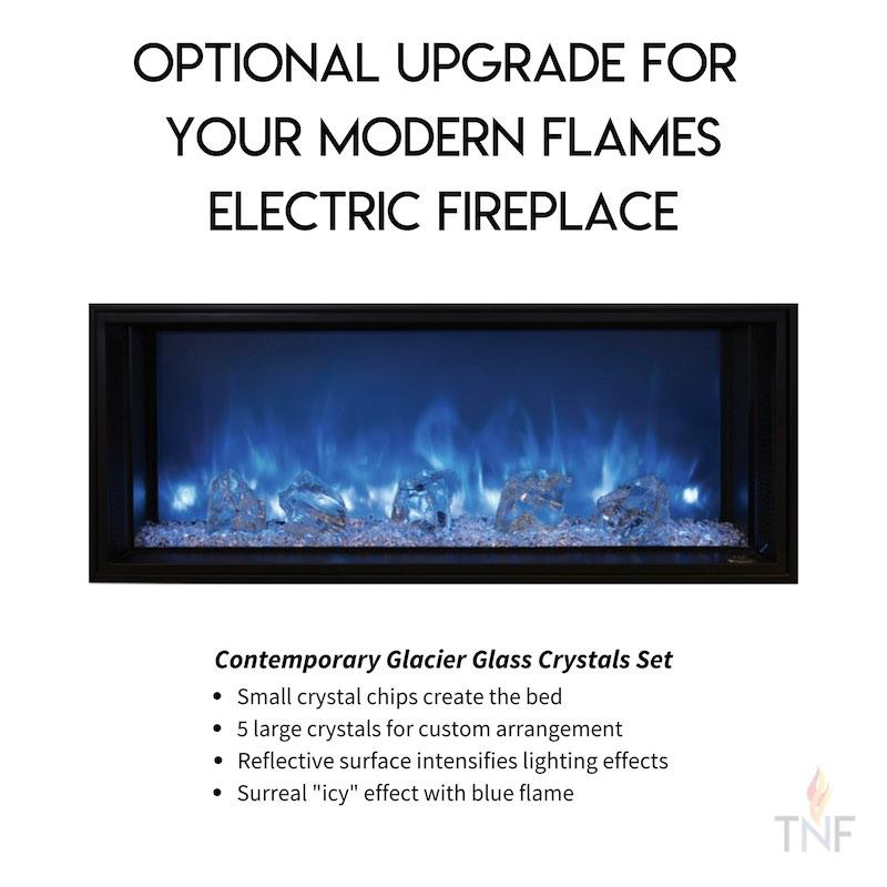 Modern Flames Landscape Fullview Electric Fireplace Optional Upgrade Glacier Glass