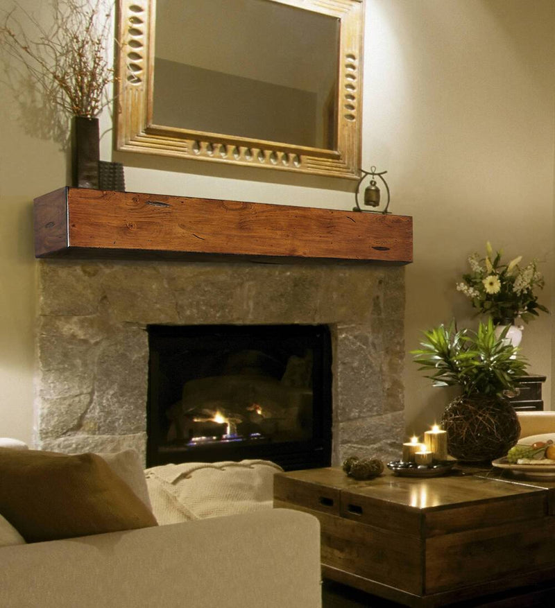 Pearl Mantel Lexington Wood Mantel Shelf in Medium Rustic Distressed Finish fireplace 2