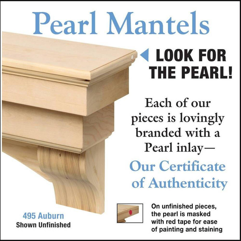 Pearl Mantels Auburn Wood Fireplace Mantel Shelf Unfinished detail