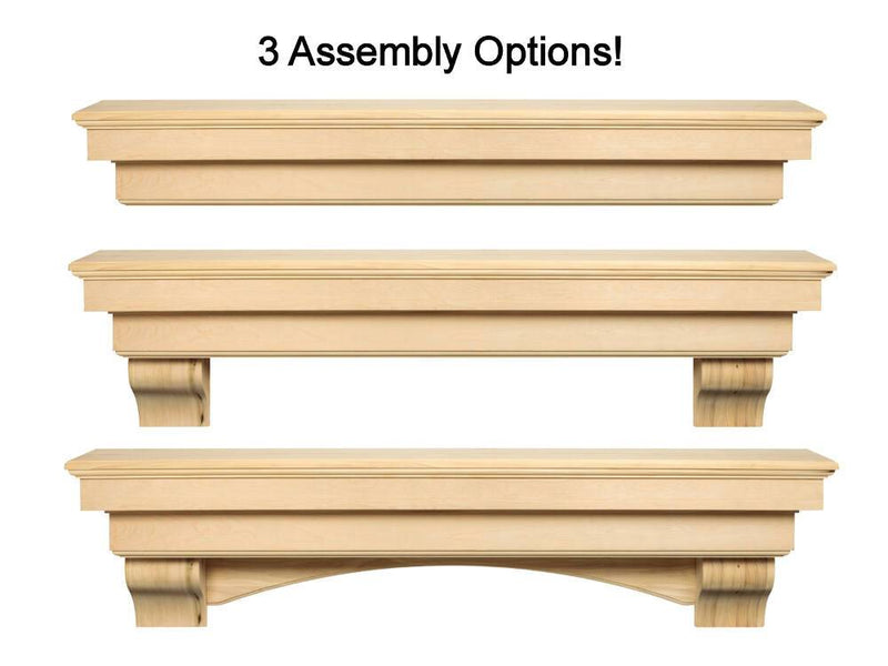 Pearl Mantels Auburn Wood Fireplace Mantel Shelf Unfinished installation options
