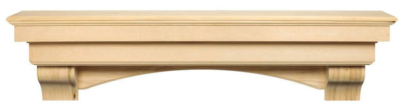 Pearl Mantels Auburn Wood Fireplace Mantel Shelf Unfinished arch and corbels