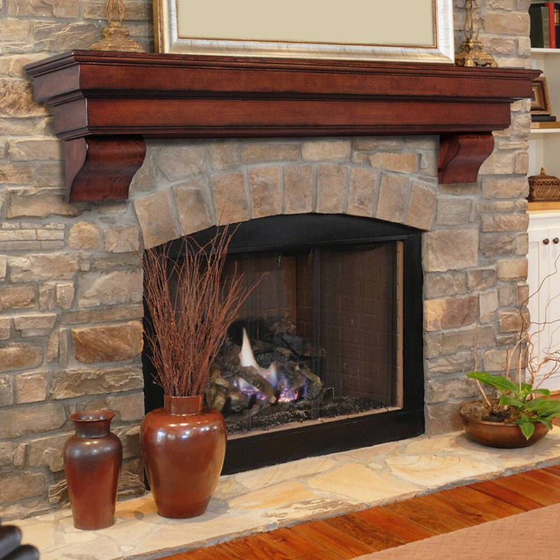 Pearl Mantels Auburn Mantel Shelf in Distressed Cherry Finish fireplace corbels