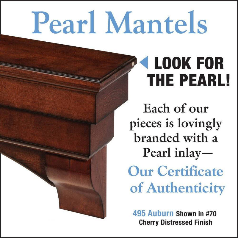 Pearl Mantels Auburn Mantel Shelf in Distressed Cherry Finish fireplace detail