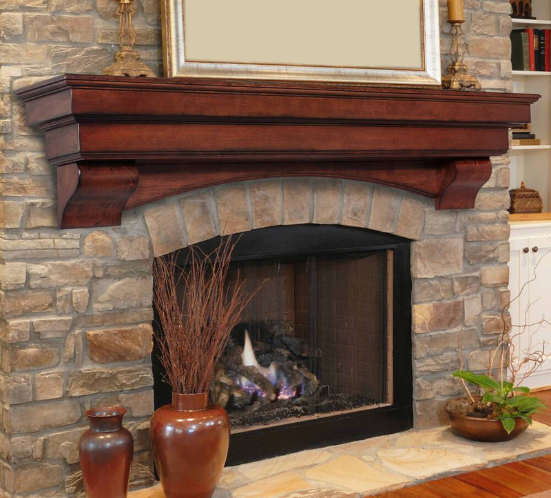 Pearl Mantels Auburn Mantel Shelf in Distressed Cherry Finish fireplace arch and corbels
